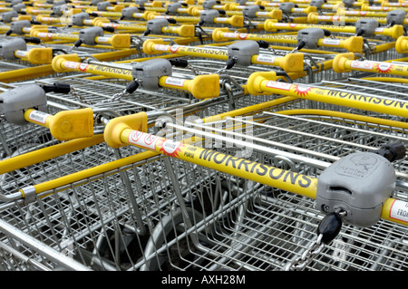 Line of Morrisons supermarket trolleys - Stock Photo