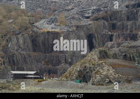 Disused Slate Quarries at Llanberis in Snowdonia National Park - Stock Photo