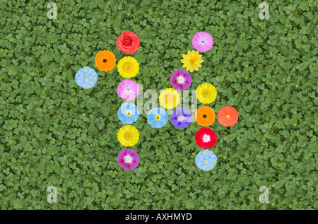 number 14 written with flowers - Stock Photo