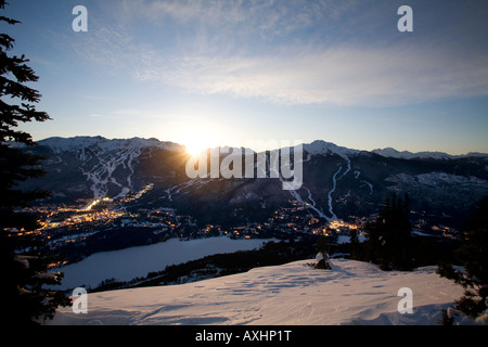 Whistler Village at sunrise with Blackcomb and Whislter mountain beyond British Columbia Canada - Stock Photo