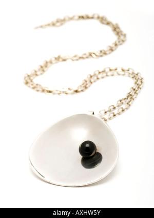 Georg Jensen sterling silver Black Pearl vintage necklace - Stock Photo