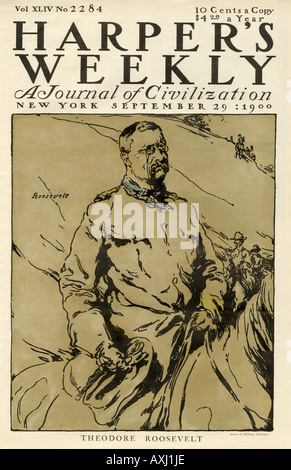 Rough Rider Theodore Roosevelt on Harpers Weekly cover 1900. Lithograph - Stock Photo