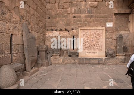 Syria Bosra entrance to theAyyubid fort containing the Roman amphitheatre - Stock Photo