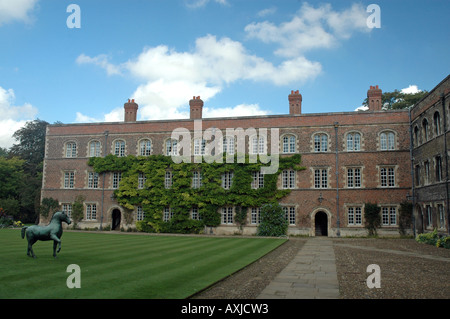 First Court, north range of Jesus College, with bronze horse statue by Barry Flanagan in Cambridge, UK - Stock Photo