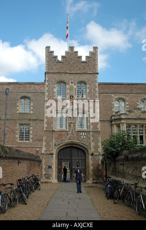 Entrance and walls of Jesus College in Cambridge, UK - Stock Photo