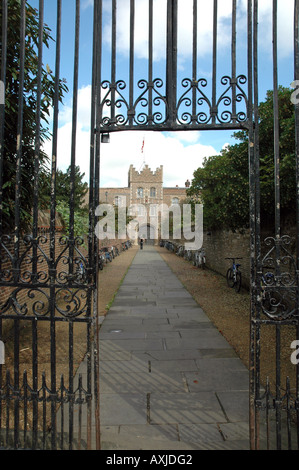 Entrance, walls and gatehouse of Jesus College in Cambridge, UK - Stock Photo
