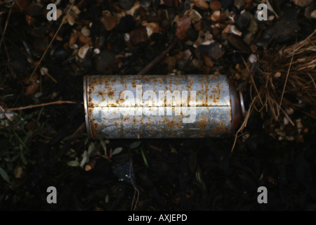 A compressed substance aerosol can lies discarded on the ground - Stock Photo