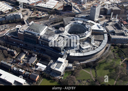 High level oblique aerial view south east of BBC Television Centre Hammersmith London W12 England UK Feb 2006 - Stock Photo