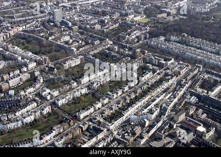 High level oblique aerial view east of Ladbroke Grove Notting Hill London W11 England UK Feb 2006 - Stock Photo