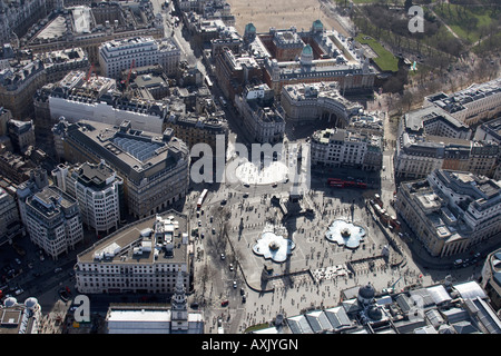 High level oblique aerial view south of Trafalgar Square London WC2 England UK Feb 2006 - Stock Photo
