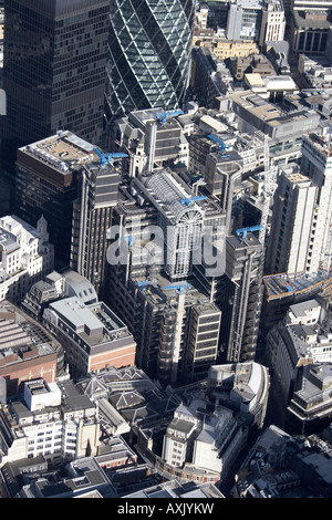 High level oblique aerial view north east of The Lloyds Building The City of London EC3 England UK Feb 2006 - Stock Photo