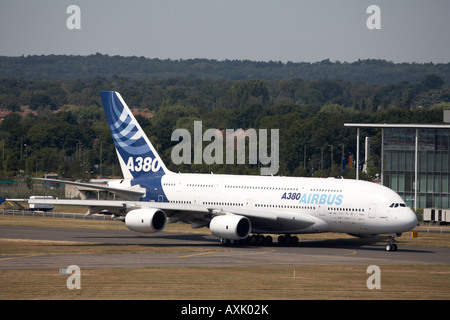 Airbus A380 superjumbo double deck aircraft taxiing for flying display at Farnborough International Airshow July - Stock Photo
