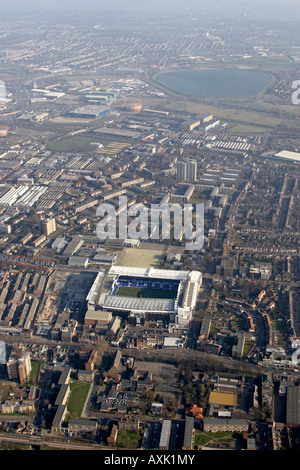 High level oblique aerial view east of Tottenham Hotspur Football Club White Hart Lane Ground with Banbury Reservoir - Stock Photo