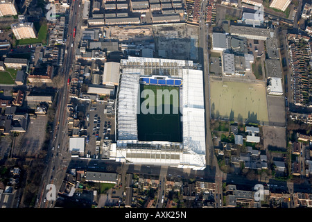 High level vertical aerial view overhead of Tottenham Hotspur football club White Hart Lane Stadium London N17 England - Stock Photo