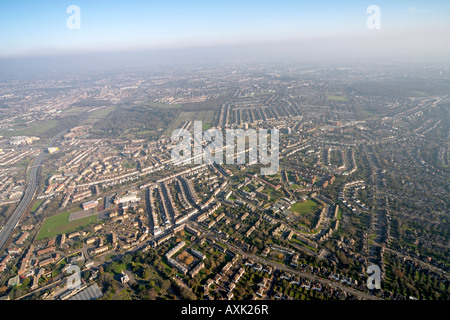 High level oblique aerial view east of East Finchley A406 St Pancras Islington cemetery London N2 N10 England UK - Stock Photo