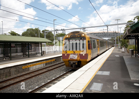 Suburban electric train at Park Road railway station in Brisbane Queensland QLD Australia - Stock Photo