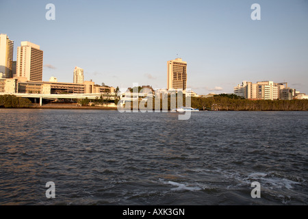 Central Business District buildings in evening summer sunlight with river Brisbane Queensland QLD Australia - Stock Photo