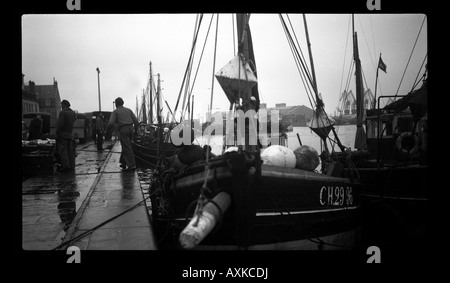 Fishing boats in harbour, France, circa 1952 - Stock Photo