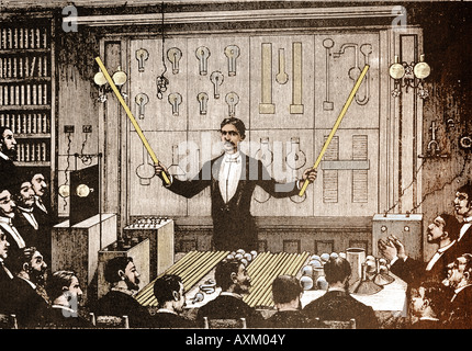alternating current tesla. nicola tesla revealing the virtues of alternating current electricity. - stock photo