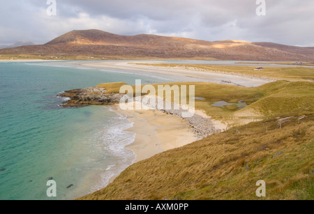 A white beach on south Harris in afternoon light, Outer Hebrides, Scotland, UK - Stock Photo
