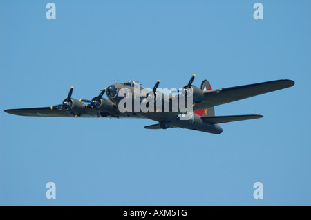 Boeing Flying Fortress B 17G, historic WWII bomber, air show at La Ferte Alais, France - Stock Photo