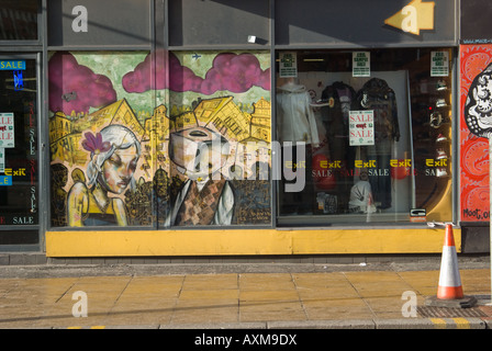 Shop front in Tibb Street Manchester's Northern Quarter - Stock Photo