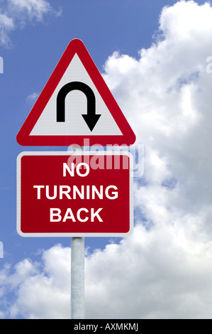 Signpost with No Turning Back against a blue cloudy sky business concept image - Stock Photo
