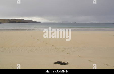 footprints on Huisinis beach North Harris Outer Hebrides Scotland - Stock Photo