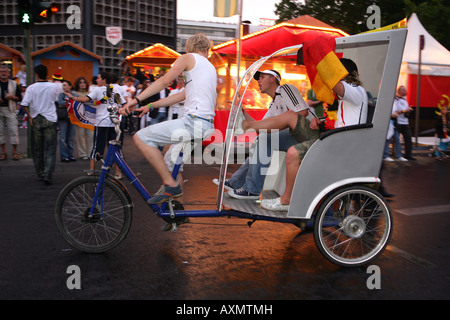 after the game Germany versus Argentina fans on the Kudamm in Berlin - Stock Photo