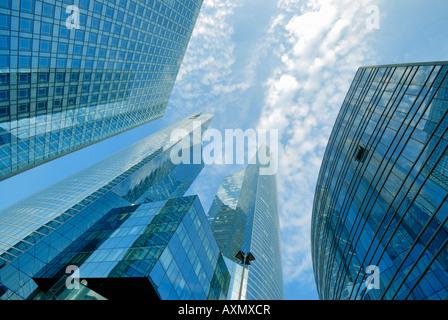 skyscrapers in financial district of La Defense Paris France - Stock Photo
