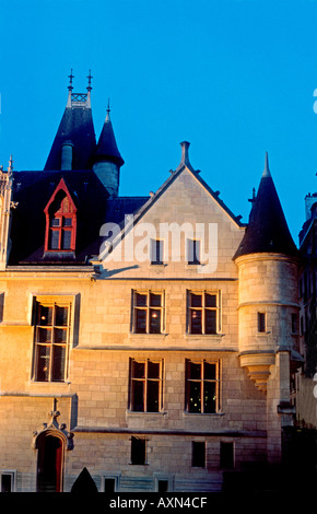 Paris France 'Architectural Detail' 'Old Mansion' in the Marais Area 'Hotel de Sens' medieval 'Forney Library' night - Stock Photo