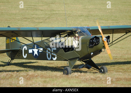 Old Piper J-3 Cub (L-4) plane used during WWII in Europe by us army. - Stock Photo