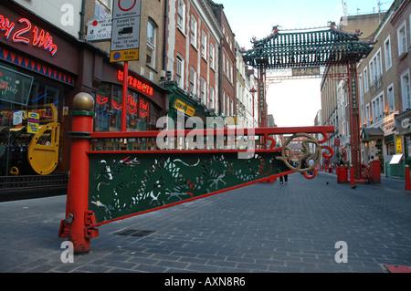 Gateway at Gerrard Street in London Chinatown - Stock Photo