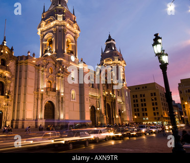 catedral at night on plaza de armas also known as plaza mayor lima peru - Stock Photo