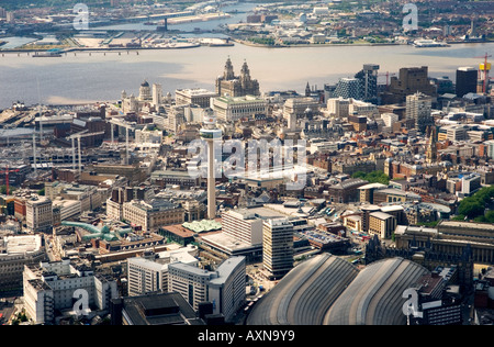 Liverpool city centre. West over Lime Street station, St. Johns Shopping Centre to the Liver Building and River - Stock Photo
