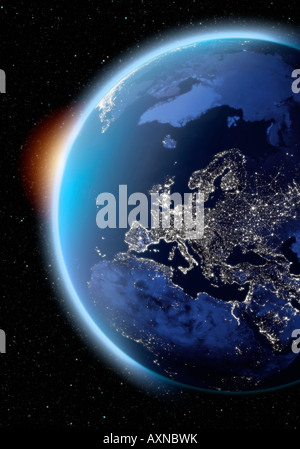 satellite image of planet earth Europe at night - Stock Photo