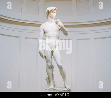 Michaelangelo s David in the Accademia Florence Italy - Stock Photo