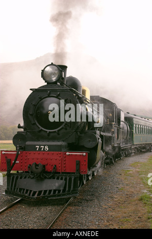NEW ZEALAND Fairlight Kingston Flyer passenger steam train runs between Kingston and Fairlight locomotive  - Stock Photo