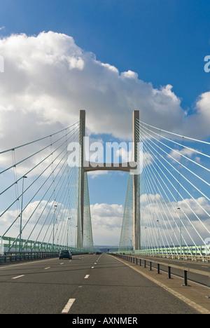 Vertical close up of the Second Severn Bridge [ail groesfan hafren] aka the Prince Of Wales bridge (Pont Tywysog - Stock Photo