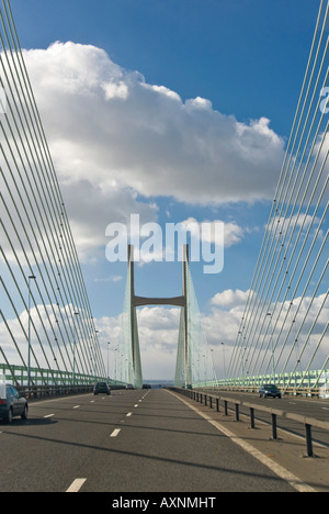 Vertical close up of the Second Severn Bridge [ail groesfan hafren] pylons and cables crossing the Severn estuary - Stock Photo