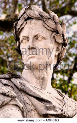 Gaius Julius Caesar Roman Emperor  by Couston Nicolas Born 12 July 100 BC - 102 BC   Roman Paris Jardin des Tuilerie - Stock Photo