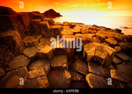 Giant's Causeway, County Antrim, Ireland, Basalt columns - Stock Photo