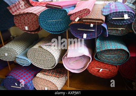 Interior Textiles Shop Trefriw Woollen Mill North West Wales - Stock Photo