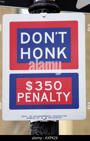 Don't honk street sign central park manhattan New York America USA - Stock Photo