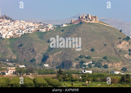 View across olive groves to Alora Inland Costa del Sol Malaga Province Spain - Stock Photo