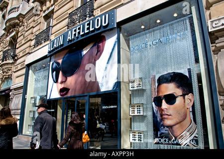 2b10e4c758 Alain Afflelou Champs-Elysees Dolce Gabbana spectacles sun glasses optician  - Stock Photo