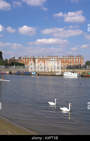 Europe UK england london surrey hampton court seen from across river thames - Stock Photo