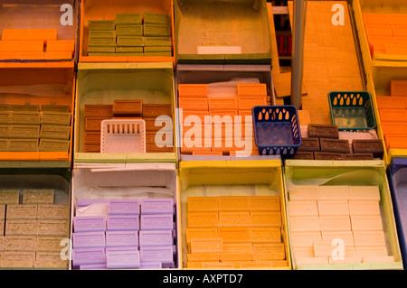 Colourful soap bars  at market - Stock Photo