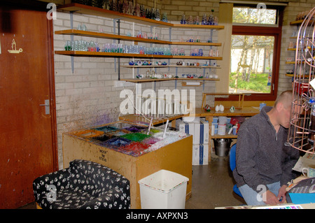 Inside the Candle Studio Corris Craft Centre North West Wales - Stock Photo
