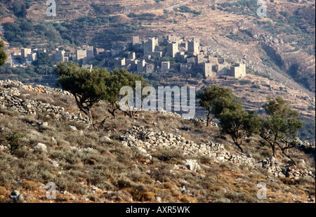 Looking down on the old Maniot village of Vathia and its tower houses in the Deep Mani Southern Peloponnese Greece - Stock Photo